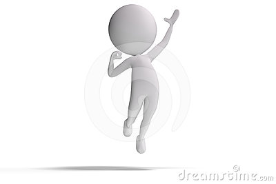 Happy 3d human wins and jumps in the air