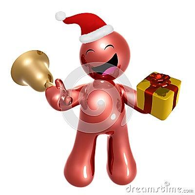 Happy 3d icon wearing Santa hat