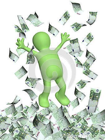 Free Happy 3d Man And A Money Rain With Euro Banknotes Stock Images - 57345814