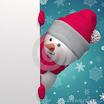 Free Happy 3d Snowman Holding White Page Royalty Free Stock Photos - 35236778