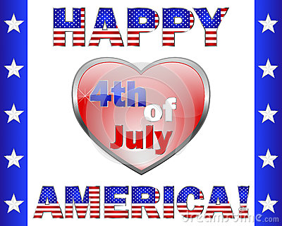 Happy 4th July America, greeting card.