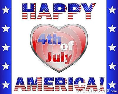 Happy 4th July America, greeting card.