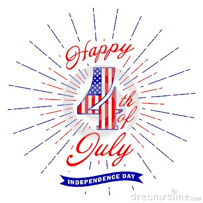 Free Happy 4th Of July Text Lettering And Fireworks Flash. Fourth Of July Design Element. USA Independence Day Decoration Royalty Free Stock Image - 118325066