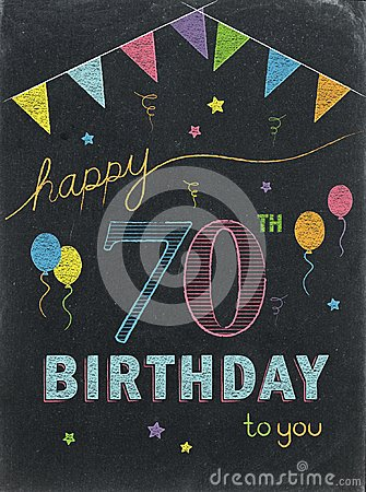 Free HAPPY 70th BIRTHDAY! Color Chalk Lettering Card Stock Images - 118248224