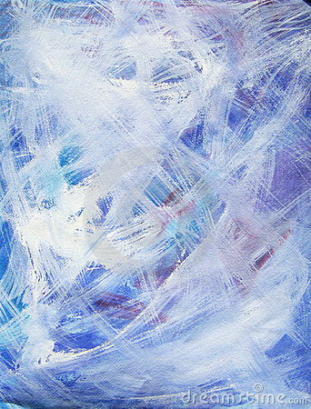 Happy abstract acrylic art painting in blue, white