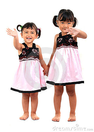 Happy adorable asian kids