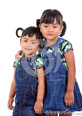 Happy adorable asian kids