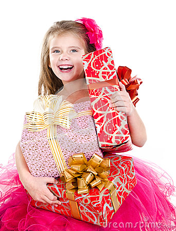 Free Happy Adorable Little Girl With Christmas Gift Boxes Royalty Free Stock Images - 46949549