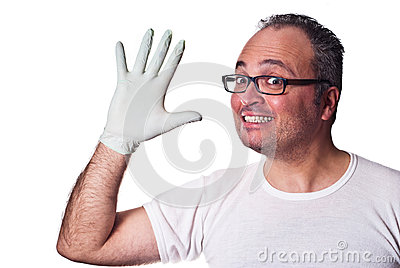 Happy adult in Rubber Gloves