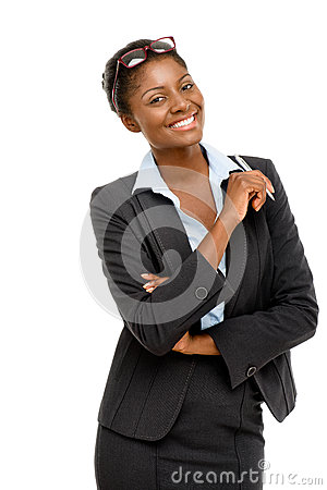 Free Happy African American Businesswoman Holding Pen White Background Stock Photos - 31027133