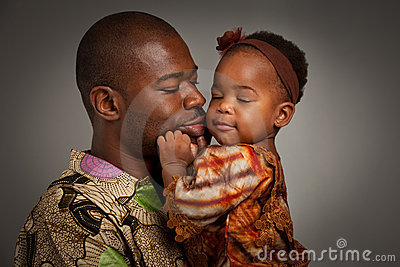 Happy African American Father Holding Baby Girl