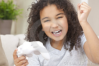 Happy African American Girl Playing Video Games