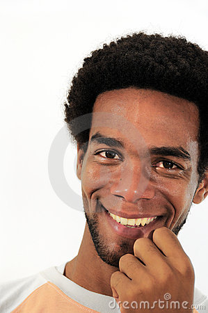 Happy african american man isolated
