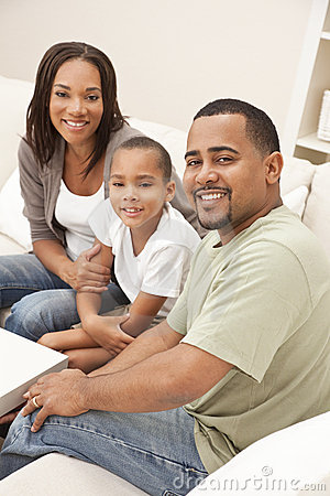 Happy African American Mother Father Son Family