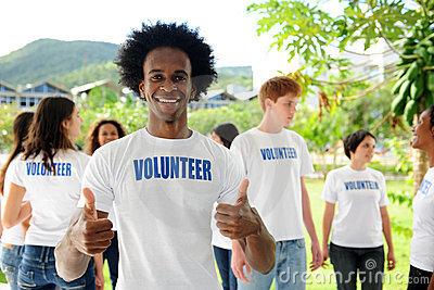 Happy african american volunteer