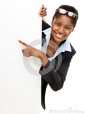 Free Happy African American Woman Pointing At Billboard Sign White Ba Royalty Free Stock Images - 31025569