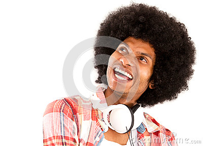 Happy afro man with headphones