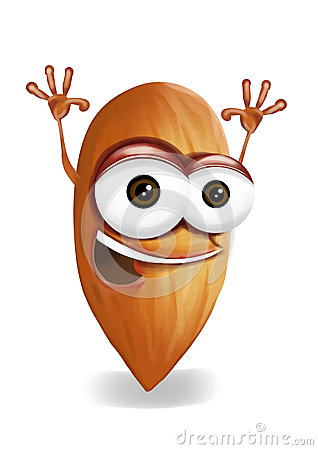 Free Happy Almond Cartoon Character Laughing Joyfully Royalty Free Stock Photo - 39397195