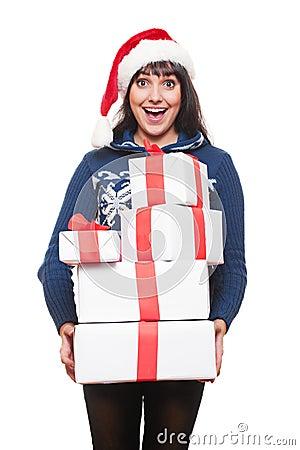 Happy amazed woman holding many boxes