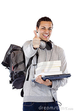 Free Happy American Student With Books Holds Thumb Up Royalty Free Stock Photos - 19483878