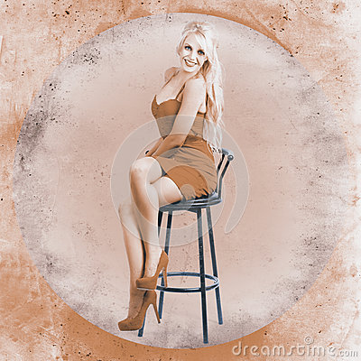 Happy American Style Pin-up Girl On Retro Chair Stock Photography ...