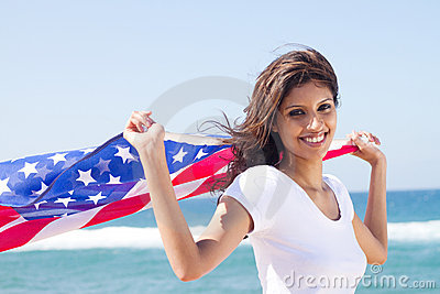 Happy american woman