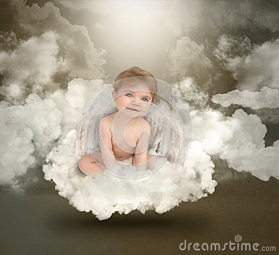 Happy Angel Baby Sitting on Clouds