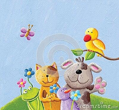 Happy animals; cat, dog. frog, bird and butterfly Cartoon Illustration