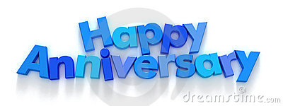 Happy Anniversary in blue letter magnets