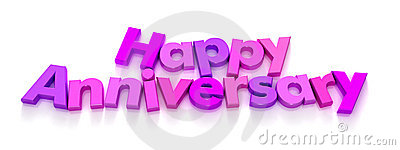 Happy Anniversary in purple and pink letter magnet