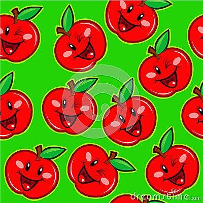 Happy Apple Seamless Pattern