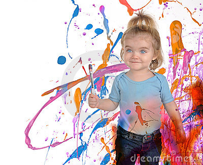 Happy Art Child Painting on White