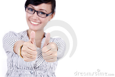 Happy asian business woman showing thumbs up