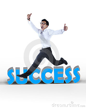 Happy asian businessman jumping a success sign
