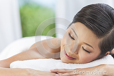 Happy Asian Chinese Woman Relaxing Health Spa