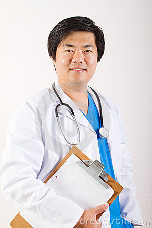 Happy asian doctor