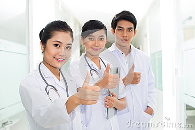 Happy Asian doctors