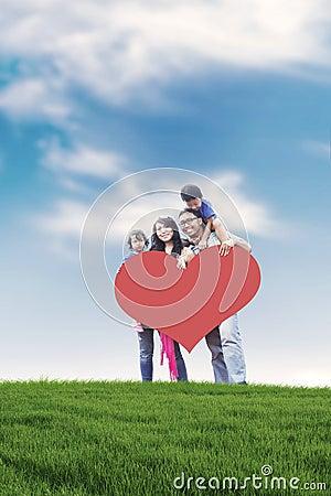 Happy Asian Family Outdoor