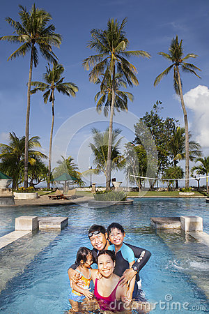 Happy Asian Family on Vacatiopn