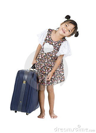 Happy Asian girl with heavy luggage
