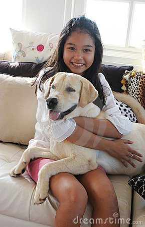 Free Happy Asian Girl With Her Pet Dog Stock Photography - 2079512