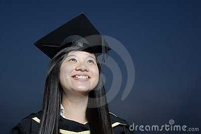 Happy asian graduate