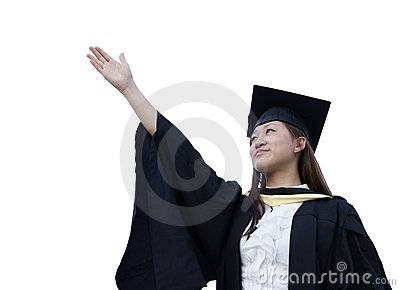 Happy asian lady graduate