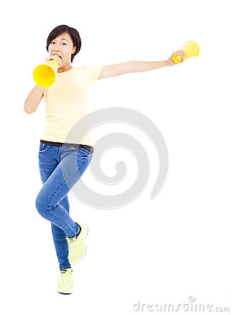 Free Happy Asian Student Girl Holding Megaphone Over White Background Royalty Free Stock Photos - 43497368