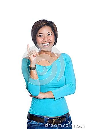Happy  Asian woman with a brilliant idea