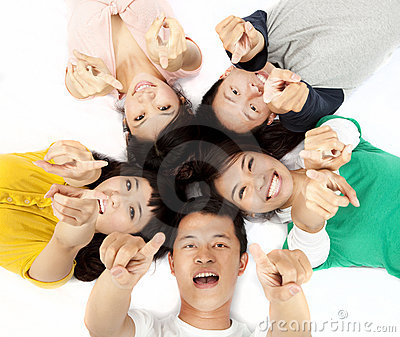 Happy asian young group