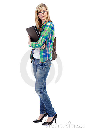 Happy attractive blonde female student, isolated