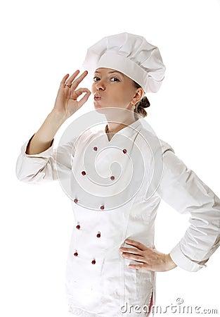 Happy attractive cook woman