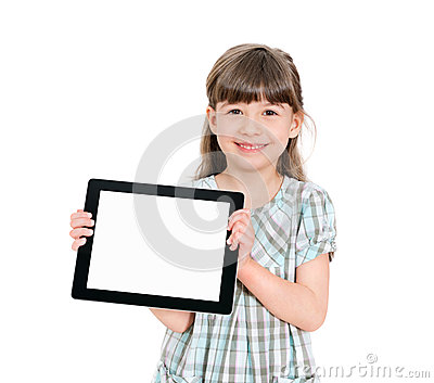 Happy little girl holding a blank apple ipad
