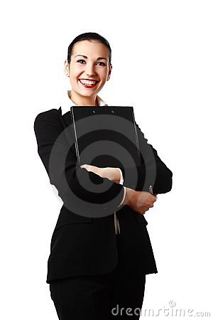 Happy attractive woman with folder